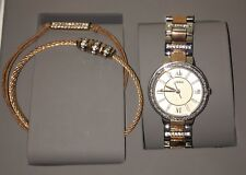 Authentic Fossil Women's Watch & Bracelets Silver & Rose Gold New in Box ES3697
