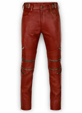 Men's Real Red Leather Zipped Styled Bikers Pants 100% Genuine Leather Pants