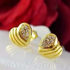 Gold Plated 925 Sterling Silver Stud Earrings White Zirconia HEARTS 7mm x 8mm