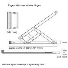 """12"""" 300mm Fire Escape Egress 17mm Window Friction Hinge stay upvc steel pvc"""