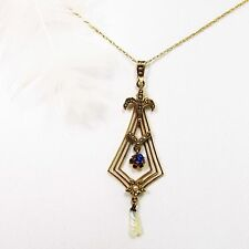 """Authentic Victorian 10K yellow gold Pendant w/ Blue Sapphire & Seed Pearl 18"""""""