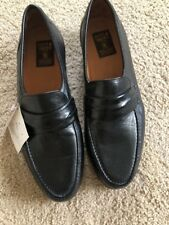 PITTI SHOES Firenze Leather Moccasin Loafer MENS Sz 11 M Black ITALY NEW