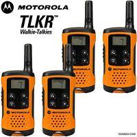 4 x Motorola TLKR T41 2 Way Walkie Talkie Set PMR 446 Radio Kit Orange Quad Pack