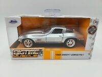 Jada Big Time Muscle 1:32 Scale 1966 Chevy Corvette Silver Nitrous Express