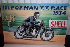 Isle Of Man Tt 1934, Ajs Motorrad Geprägt (3D) Metall Schild 30x20cm / Shell