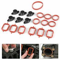 6 x 22mm for BMW M47 Swirl Blanks Flaps Repair Delete Kit w/ Intake Gasket Black