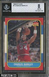 1986-87 Fleer Basketball #7 Charles Barkley 76ers RC Rookie HOF BGS 8 NM-MT