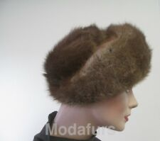 "Women's Sz 22"" Natural Muskrat Fur Hat MINT"