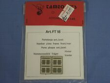 NEW Tameo Kits 1/43 Scale, Number License Plate Frame FRONT / REAR, Art. FT 18
