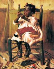 METAL MAGNET African American Black Girl In Chair Sewing Children MAGNET