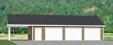 40x24 3-Car Garage with Carport -- 960 sq ft -- PDF Floor Plan -- Model 1I