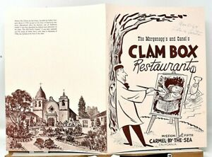 RARE 1964 THE CLAM BOX RESTAURANT MENU CARMEL BY THE SEA CALIFORNIA CA - SCARCE