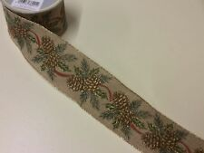 "New 10yd Roll 'Pine Cone' Fabric Wire Edge Christmas Ribbon 2.5"" Wide"