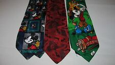 Lot of 3 Disney Mickey Mouse Men's Tie  - Mickey Goofy Pluto Golf Novelty Tie's