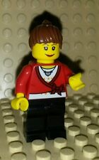 *NEW* Lego Red Top Brown Hair Woman Girl Figure Minifig Fig x 1