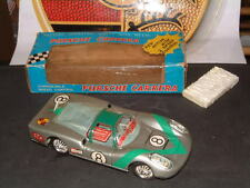 "DAIYA VINTAGE BATTERY OPERATED, TIN ""PORSCHE CARRERA"" W/2-SPEEDS! WORKING W/BOX!"