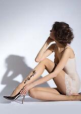 Attractive Natural Beige Black Flowers Tattoo Effect Women Tights PontyhoseT38