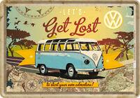 Get Lost VW Bulli Blechschild  10x14 cm  Bus Bully Samba T1 T2 T3 T4 T5 10223