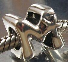 925 STERLING SILVER Star Design LETTER M Alphabet European CHARM BEAD oxidised