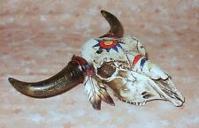 NEW~War Paint Bull Skull w/Horns Western Tribal Box Jewelry Keys Decor Steer Cow