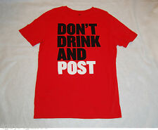 MENS Tee Shirt DONT DRINK AND POST Red L 42-44 Short Sleeve