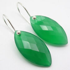 925 Sterling Silver FACETED GREEN ONYX Wonderful FACTORY DIRECT Earrings 3.2 CM