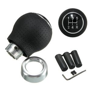 Universal Aluminum Manual 5 Speed Car Gear Shift Knob Shifter Ball Leather NEW