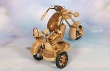Wooden Handmade Motorcycle with side car - Rustic Toy vintage *single unit*