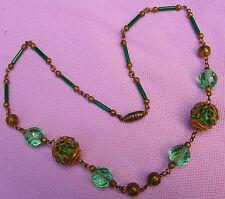 Old Vintage Antique Art Deco Green Glass Bead Fancy Brass Choker Necklace Czech?