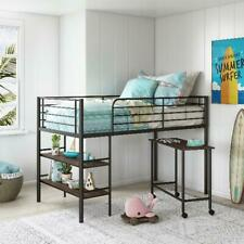 Kids Metal Twin Loft Bunk Bed with 2 Open Shelves and Under Bed Desk Storage