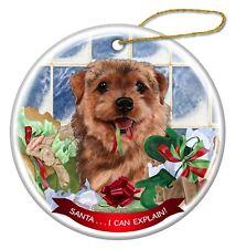 Norfolk Terrier Dog Porcelain Hanging Ornament Pet Gift 'Santa. I Can Explain!'