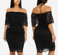 Womens off shoulder bodycon black lace party clubwear cocktail evening  dress