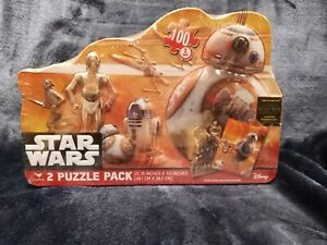 STAR WARS 2 PUZZLE PACK 100 PC EACH Collectible Tin Droids & Chewbacca NEW