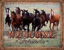 Welcome Friends TIN SIGN Metal Western Prairie Horses Wall Art Poster Decor