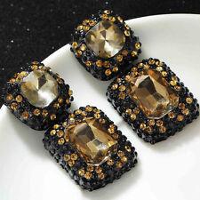 Anthropologie Champagne marrón En Relieve En Piedras De Cristal Cuadrado Aros Colgantes Nuevos