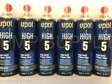 UPOL High 5 High Build Primer Aerosol DARK GREY BOX OF 6 NEW DESIGN