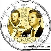 2 Euro Luxemburg 2018 175. Todestag von Großherzog Guillaume I Sofort Lieferbar