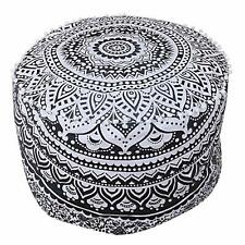 Mandala Pouf Cover Black Ottoman Cotton Floor Pillow Boho Decorative Footstool