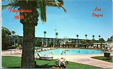 NV Postcard Tropicana Hotel Las Vegas Nevada Roadside Pool Man Laying in Sun
