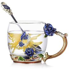 Luxury Unique Set Glass Tea Cup Coffee Mug Blue Rose Flower Gold Enamel Gift Box