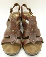 Dansko Brown Leather Studded Slingback Block Heel Sandals Women's 40 / 9.5 - 10