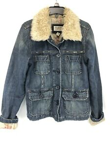Abercrombie & Fitch XS Jean Denim Aviator Faux Fur Jacket Quilted Lining