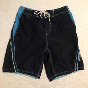 Speedo Board Shorts Men's Large Blue/Turquoise/Yellow Liner Pockets Swim Trunks