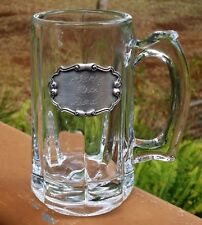 Lovely Handled Glass Tankard Stein Mug *Engraved Pewter Plaque Happy 50th Dad