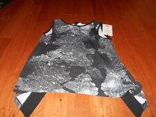 Reflex by 90 Degree Open Back Workout Shirt Womens Gray Black Zigzag XS NWT