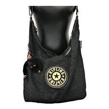 Kipling Black Nylon Hobo Shoulder Bag With Monkey Charm