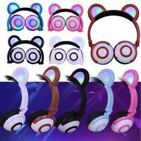 Headphones With Cat Ear LED Light On Ear Foldable Headset For Kids Earphone