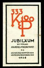 Germany Poster Stamp - Kösel & Pustet Publishers - 333rd and 100th Anniv. - 1926