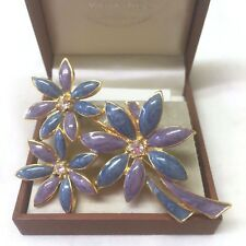 Vintage Enamel & Rhinestone Flower Spray Brooch Pin.