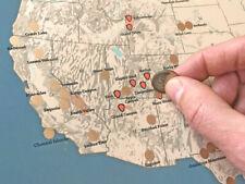 US National Parks Scratch-Off Checklist Map 11x14 Print (Tan & Slate Blue) #02SC